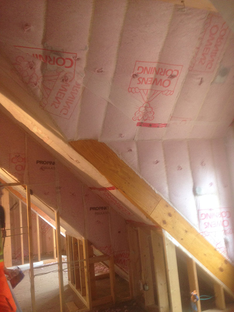Blown-in insulation new construction