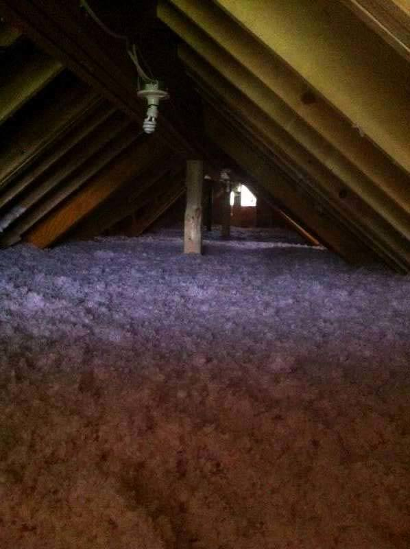 Attic blown in insulation