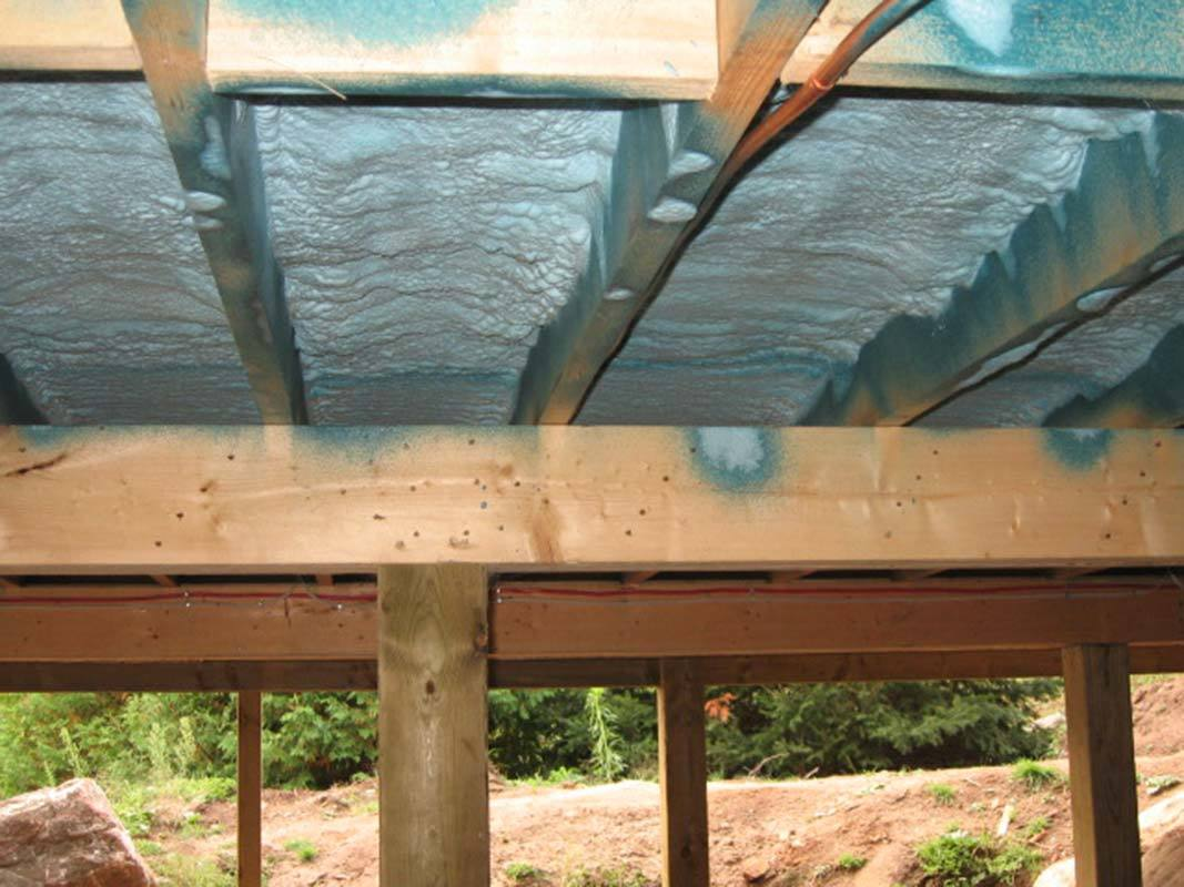 Blue foam insulation under cabin